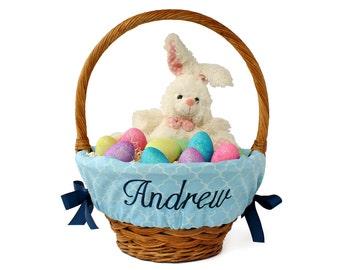 Personalized Easter Basket Liner, Blue Trellis, Basket not included, Monogrammed Easter basket liner, Custom basket liner with name added