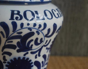 vintage ceramic jar - Amarena Fabbri - made in Italy - blue and white