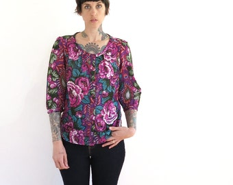 80s vintage peasant blouse// bright floral button up hippie blouse shirt top// small medium