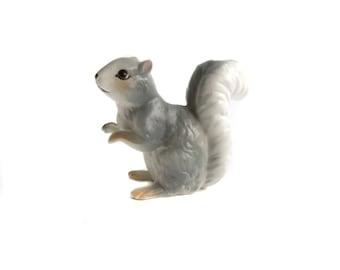 Gray Squirrel Figurine, Miniature Squirrel Figure, Vintage Squirrel, Porcelain Squirrel