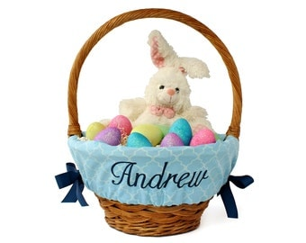Personalized Easter Basket Liner - Blue Trellis - Basket not included - Personalized with name - Ships in time for Easter