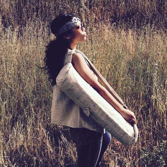 Nettle Yoga Mat Bag Large Yoga Mat Carrier Zipper Pockets Yoga