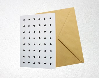 Valentine card, with black hearts on white background, folded, blank inside, A6, with envelope
