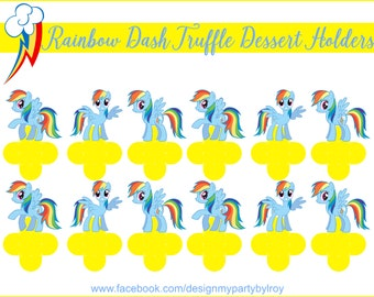 RAINBOW DASH, Rainbow Dash Party Favors, Rainbow Dash Party Supplies, Rainbow Dash Party Printable,Rainbow Dash Candy Holders, Rainbow Dash.