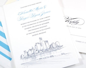 Detroit Skyline Wedding Invitations Package (Sold in Sets of 10 Invitations, RSVP Cards + Envelopes)