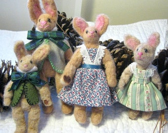 Wool Felted Bunny Family