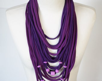 Upcycled t-shirt scarf: Purple with knots and wooden beads [409]
