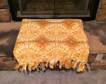 Tie Dyed Yellow and Grey Blanket READY TO SHIP Fringed Fleece Blanket, Tied Blanket Spring Blanket