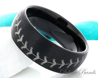 Baseball Ring Tungsten Band 8mm Black Wedding Band Man Wedding Ring Women Anniversary Ring Promise His Hers Free Laser Engraving Comfort Fit