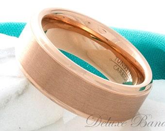 Rose Gold Tungsten Wedding Band,8mm,Tungsten Mens Ring,Tungsten Anniversary Ring,Brushed Tungsten Band,Rose Gold Tungsten Mens Womens Band