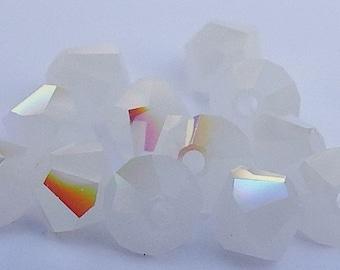 Close Out! Alabaster White Swarvoski Crystal, 4 mm, Bi-Cone, Pkg of 12, AB Finish, 5328 or 5301