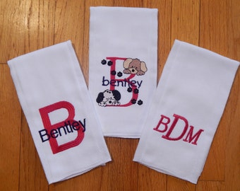 Personalized Burp Cloths/Monogram Burp Cloths/Set of 3 Burp Cloths for Boy or Girl/Puppy Dog Burp Cloths/Personalized Baby Item
