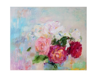 Tenderness - White, Pink & Red Garden Rose Original Oil Painting Modern Contemporary Art Rose Minimalist Home Wall Decor Large Format Floral