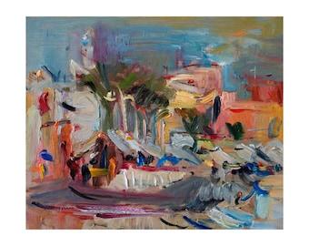 Giclee Fine Art Print - Late light - Original Plein Air Oil Painting Abstract Landscape Impressionist Vibrant Colourful Seascape Prints Sky