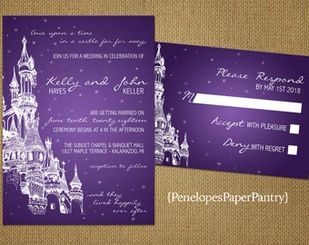 Purple Fairy Tale Theme Wedding Invitations,Castle,Happily Ever After,Shimmery,Customize,Printed Invitations,Invitation Sets,With Envelopes
