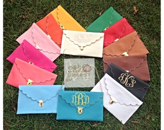Monogrammed scalloped envelope clutch/crossbody purse