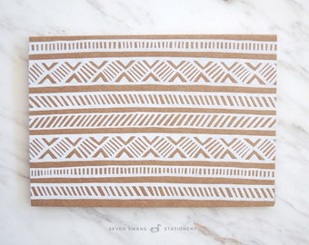 White Foiled, Kraft, African Inspired Greeting Cards, african print cards
