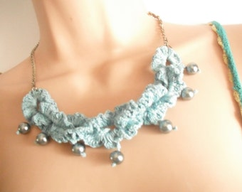 crochet and pearl necklace