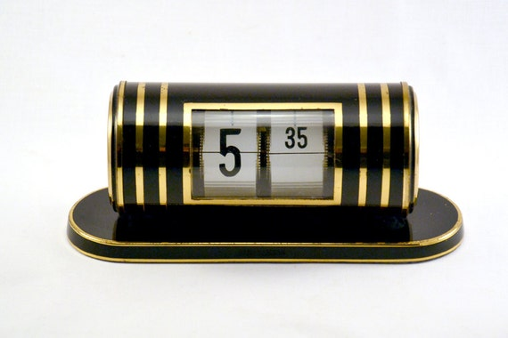 horloge lamelles flip vintage horloge m canique de bureau. Black Bedroom Furniture Sets. Home Design Ideas
