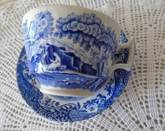 Spode, Copeland, blue and white, Italian pattern, breakfast cup and saucer.  In perfect condition.  Backstamp same on cup and saucer.