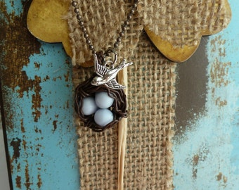 Mom Gifts Mothers Jewelry Wire Bird Nest Necklace Swallow Necklace