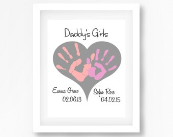 Daddy's Girls, Fathers Day Gift, Personalised Gift for Dad, Unique Fathers Day Gift from Daughters, Handprint Art, OOAK Father's Day Gift