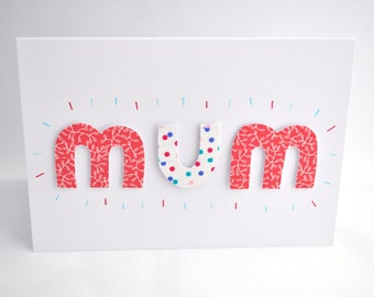 Handmade Mother's Day Card, Thank You Card, Birthday Card - Blank Inside