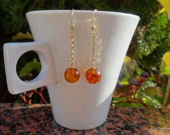 Noble earrings of gold 585 (14 K) with amber and yellow gold!
