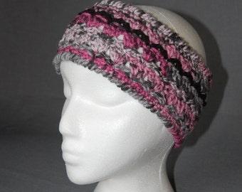 Sassy Pink Crochet Earwarmer Headband ~ Teen/Adult