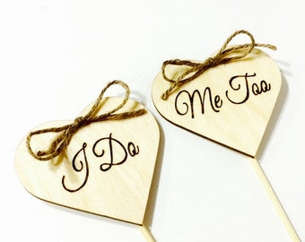I do Me too rustic wedding cake topper from wood hearts with jute
