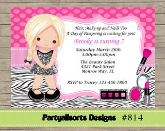 DIY - Glamour/ Pamper/ Make up/Spa Party Invitations