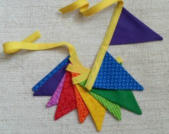"Mini Rainbow Brights fabric pennant bunting banner 45"""