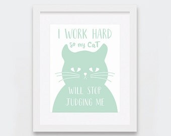 Stop Judging Cat Printable Art, Funny Cat Art for Cat Lovers, Don't Judge Mint and White Cat Print, Mint Illustration Art, Instant Download