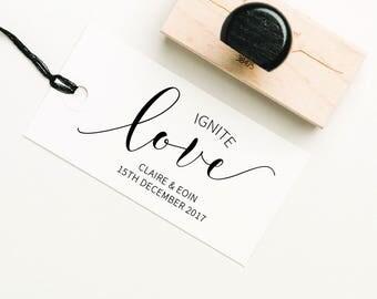 Ignite Love Favor Stamp, Matches Stamp, Ignite Love Stamp, DIY Favor Stamp, Personalized Stamp, Sparkler Wedding Stamp (SFAVS309 - S.3)
