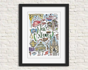New Orleans, Louisiana Watercolor City Illustration Wall Art Print // 8x10 and 11x14