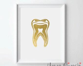 Human Tooth II Gold Foil Print, Gold Print, Dental Office Custom Print in Gold, Illustration Art Print,Golden Tooth Gold Foil Art Print