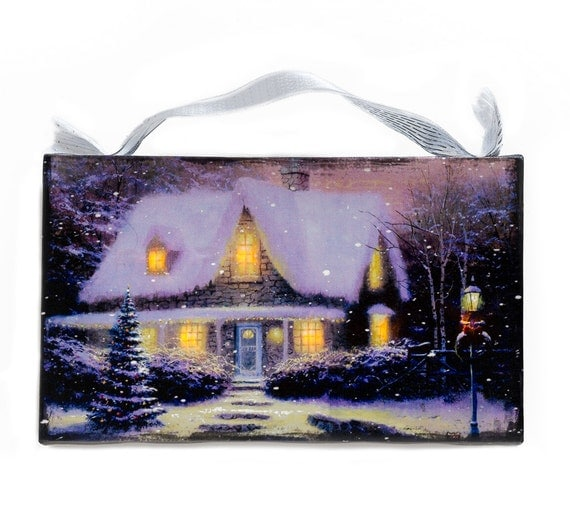 Christmas Wall Scene Decorations : Christmas country home cottage lighted by