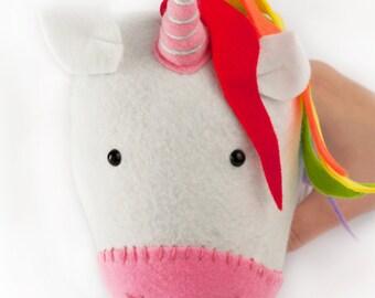 Rainbow felt taxidermy unicorn, wall hanging animal, unicorn head, childrens bedroom, rainbow unicorn, unicorn decoration, faux unicorn, uni