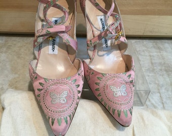 Vintage Manolo Blahnik Embroidered Rose Brocade Evening Shoes   Size 37