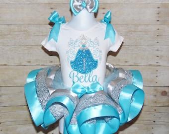 Cinderella Ribbon trim tutu, Cinderella birthday outfit, Cinderella dress,