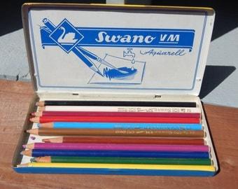 Swan Pencils in Original Tin Lithograph Germany Artist Pencils Schwan Swano VM 1816M / Vintage Art Supplies Swan Pencil Company Germany