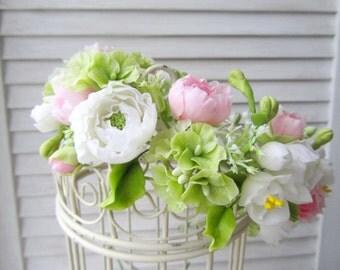 Wedding floral crown White ranunculus flower wreath Bridal flower accessories Pink peony flower Rustic wedding Garden