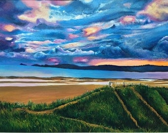 Original acrylic painting. Swansea Bay Sunset. Free UK delivery.