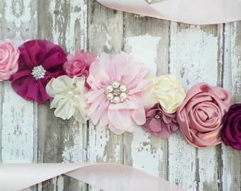 Design Your Own Sash, Flower Girl Sash, Bridesmaid Sash, Flower Belt, Maternity Sash, Wedding Sash, Bridal Belt, Junior Bridesmaid Sash