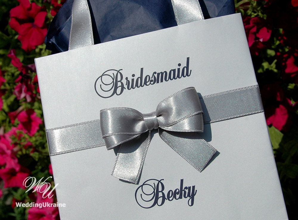 Silver And Navy Blue Personalized Bridal Party Favors Bags
