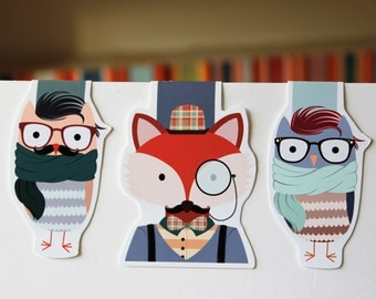Hipster Animal Bookmarks