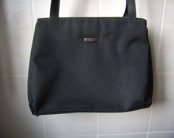 Handbag, bag, Tote, large handles, Nylon fabrics, Vintage 1980 black