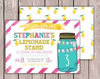 PRINTABLE- Lemonade Birthday Invite - Pink Lemonade Invite - Summertime Birthday Invite - Lemonade Stand Birthday Invite - 5x7 JPG