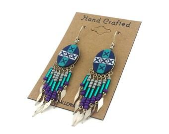 Hand Painted Artisan Southwestern Dangling Beaded  Earrings
