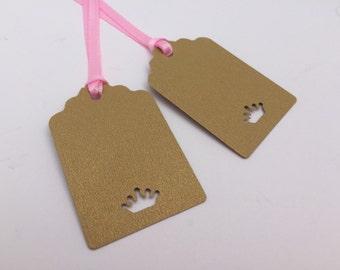 Princess Gift Tag, Princess Favor Tag, Hang Tag : 12 Princess Crown Gift Tags, Gold Crown Tags